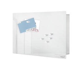 Glass Magnet Board W/Key Box - White - 11.8 x 7.9 Inches