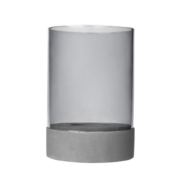 Candle Holder with Glass - Light Gray