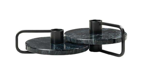 Candle Holders Set of 2 Black Marble