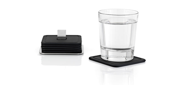 Coasters with Stainless Steel Holder - Square