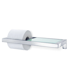 Wall Mounted Toilet Paper Holder - W/Glass Shelf - Polished - Menoto
