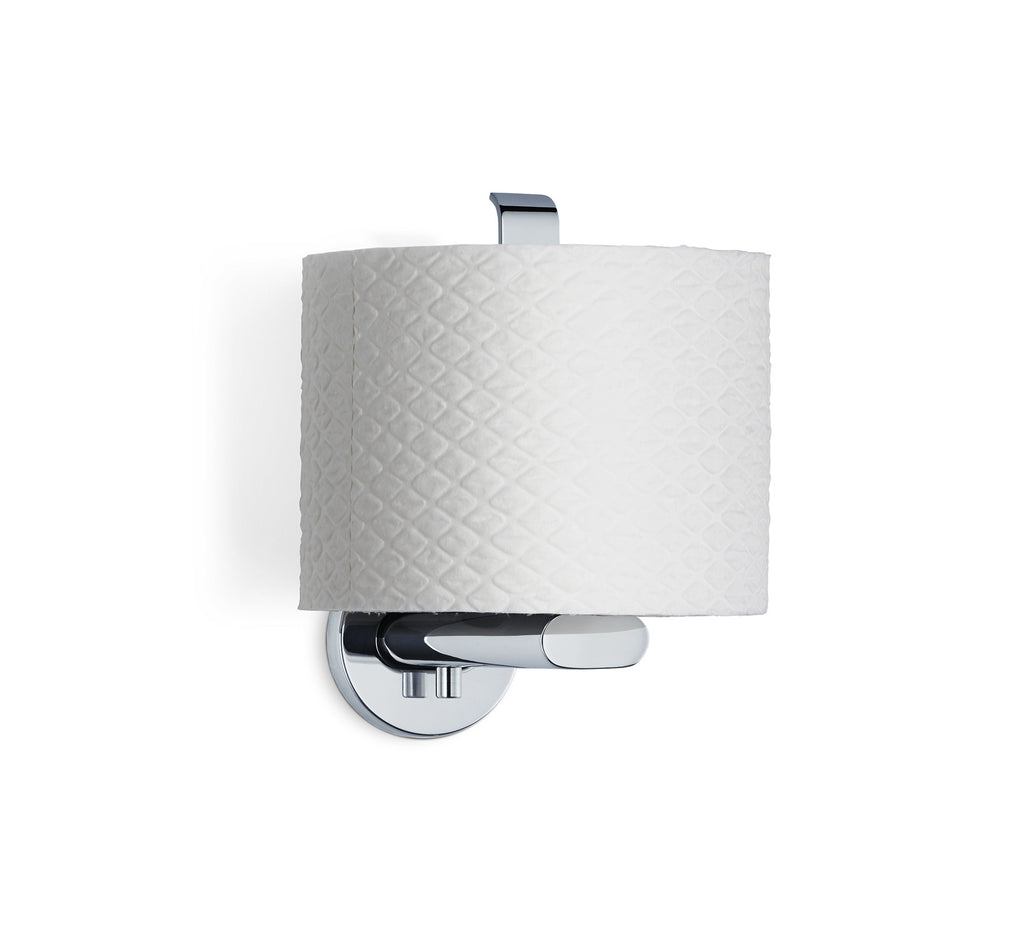 wall mounted toilet paper holder  vertical  polished  areo – blomus - wall mounted toilet paper holder  vertical  polished  areo