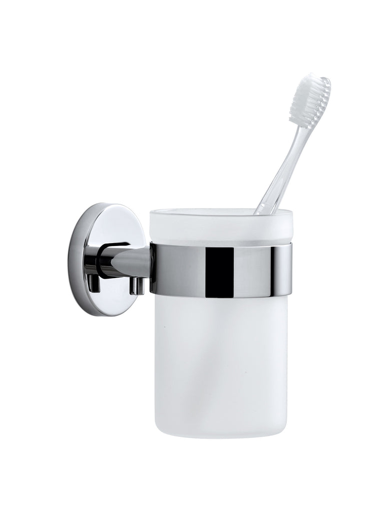 Wall Mounted Toothbrush Holder Frosted Glass Polished Blomus