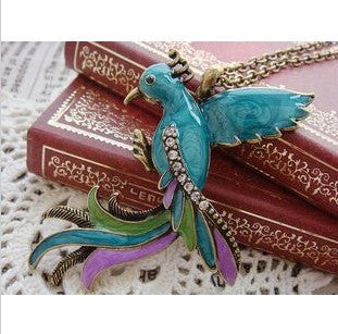 Rhinestone Gem Peacock Pendant Necklace