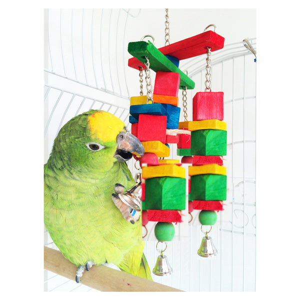 Moveable Wood Chew Rope Toy with Fun Bells