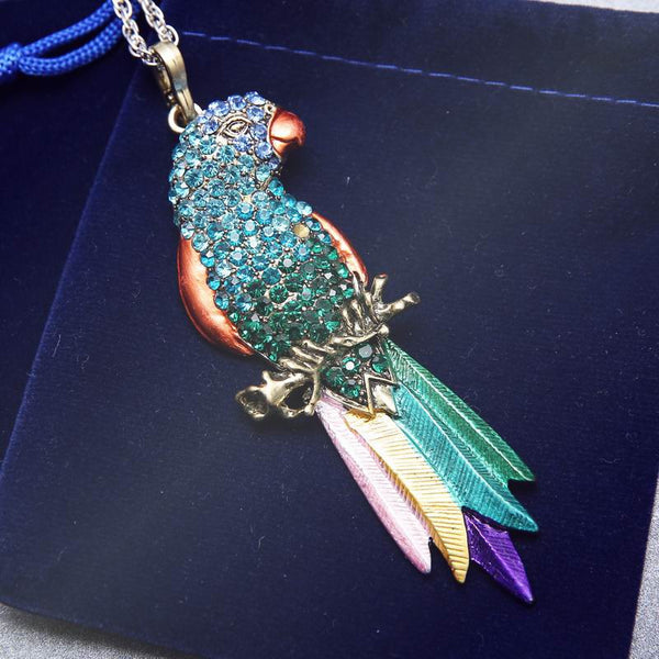 Emerald Crystal Parrot Pendant Necklace