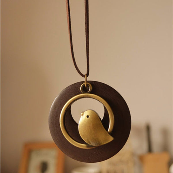 Wood Bird Pendant Necklace