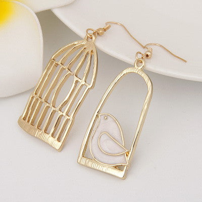 Vintage Bird-Cage Drop Earrings
