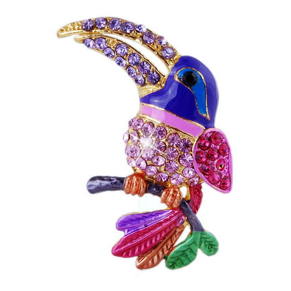 Colorful Rhinestone Toucan Brooch