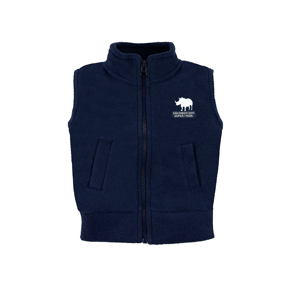 Safari Park Rhino Polar Fleece Vest - Child Navy