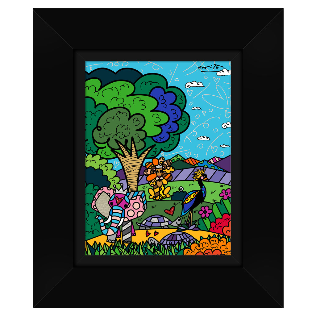 Wild Life III by BRITTO - Signed Limited Edition Canvas Print - Glossy Black Frame