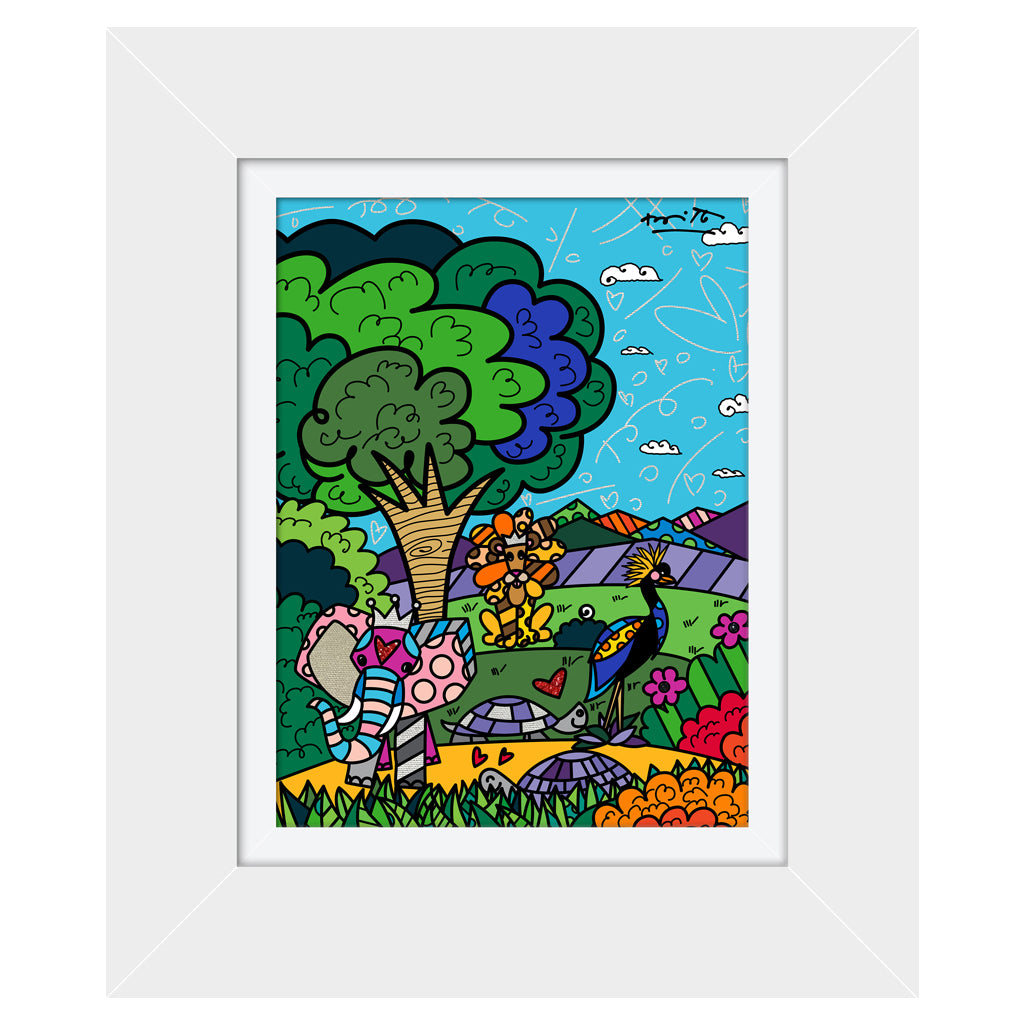 Wild Life III by BRITTO - Signed Limited Edition Canvas Print - Glossy White Frame