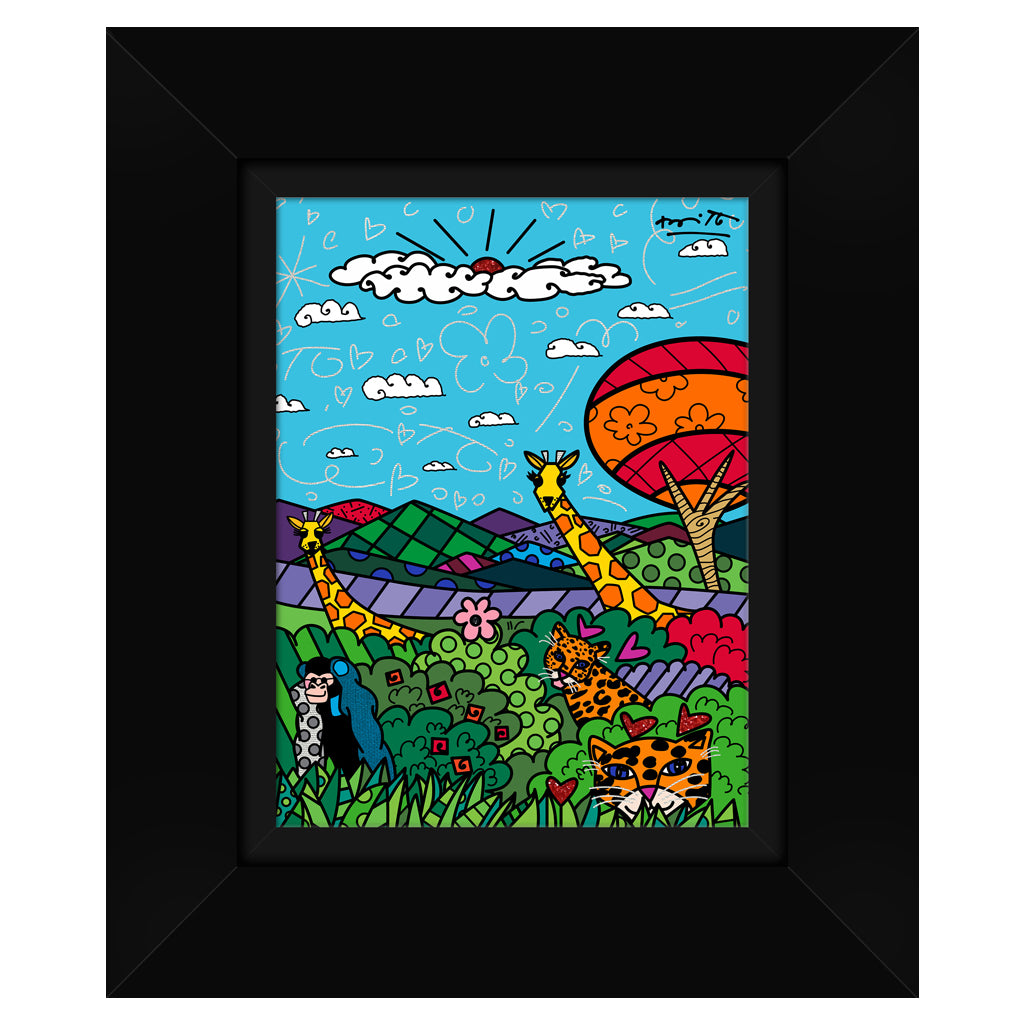 Wild Life II by BRITTO - Signed Limited Edition Canvas Print - Glossy Black Frame