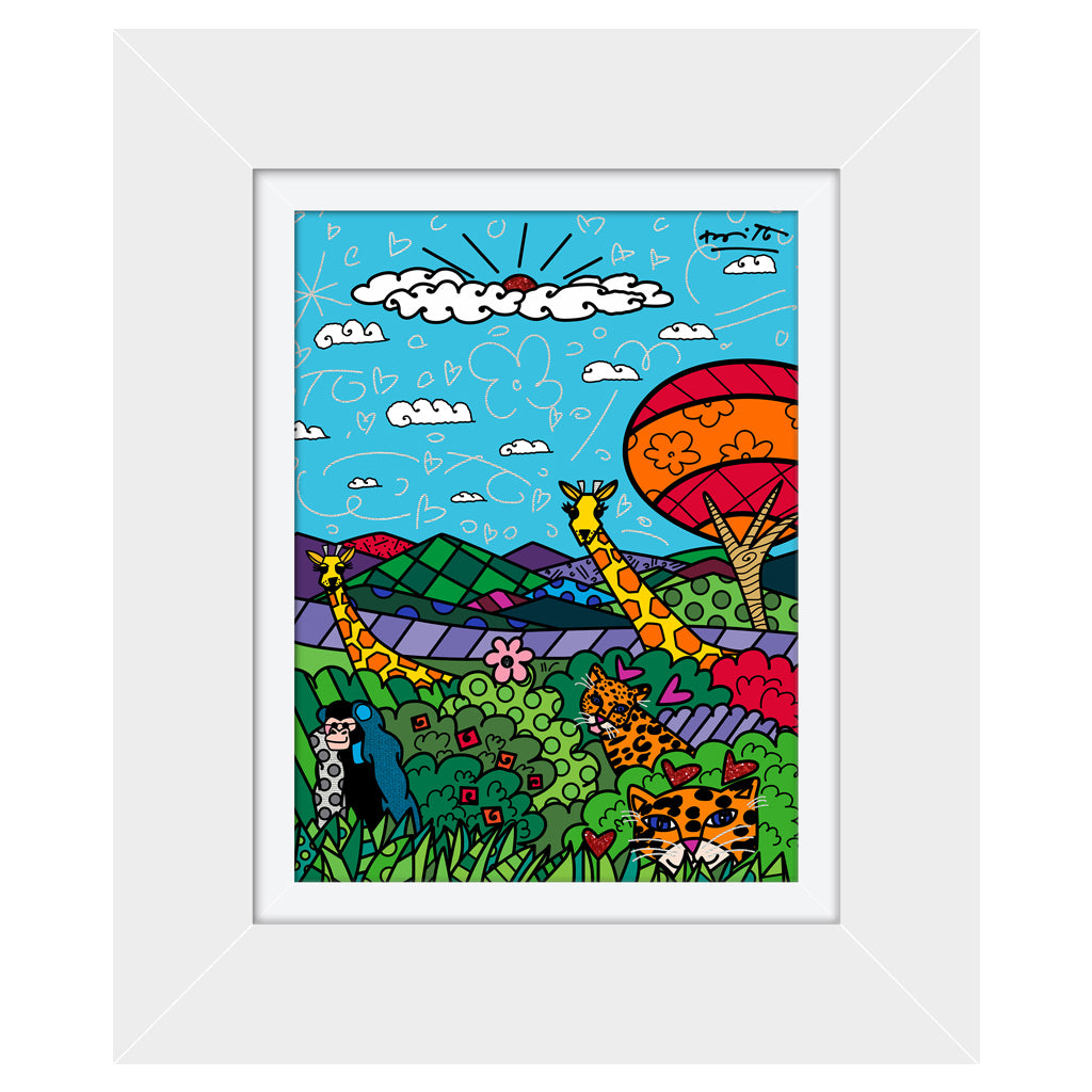 Wild Life II by BRITTO - Signed Limited Edition Canvas Print - Glossy White Frame