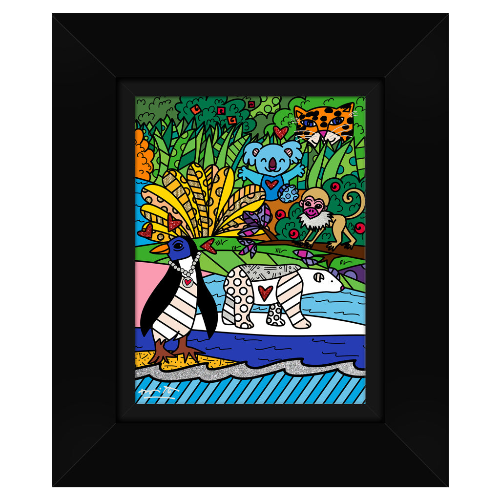 Wild Life IV by BRITTO - Signed Limited Edition Canvas Print - Glossy Black Frame
