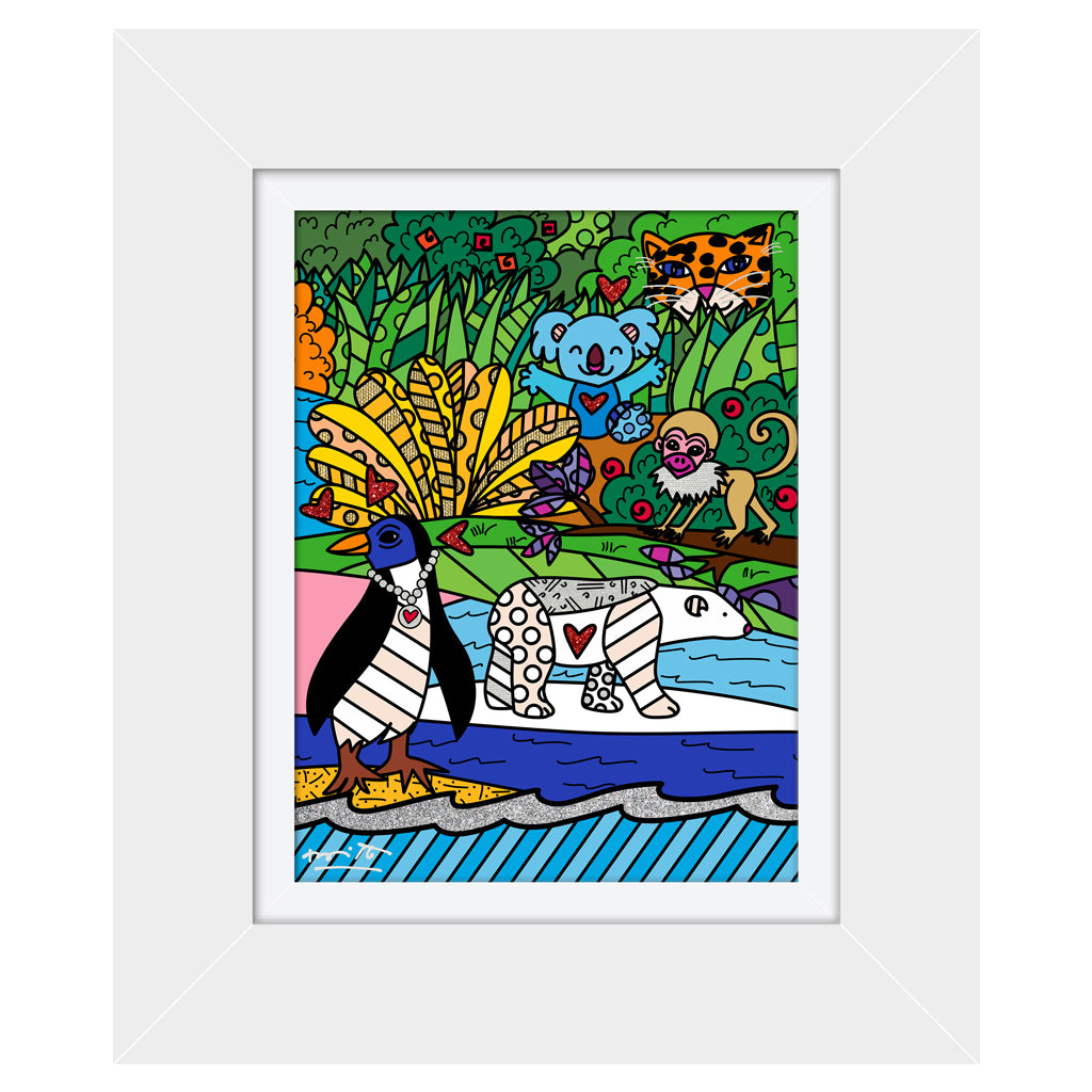 Wild Life IV by BRITTO - Signed Limited Edition Canvas Print - Glossy White Frame