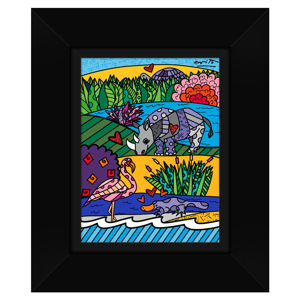 Wild Life I by BRITTO - Signed Limited Edition Canvas Print - Glossy Black Frame