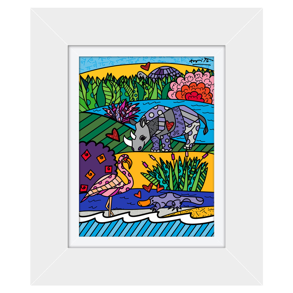 Wild Life I by BRITTO - Signed Limited Edition Canvas Print - Glossy White Frame
