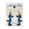 Earrings: Blue Morpho Butterfly, 3-Tier Dangle