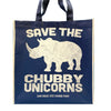 Save the Chubby Unicorns Shopping Tote-Navy