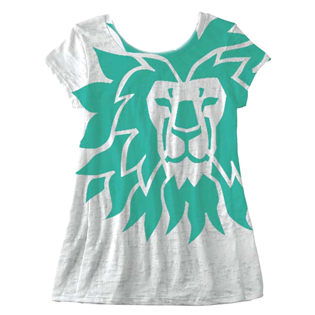 Ladies Aqua Lion Face Tee