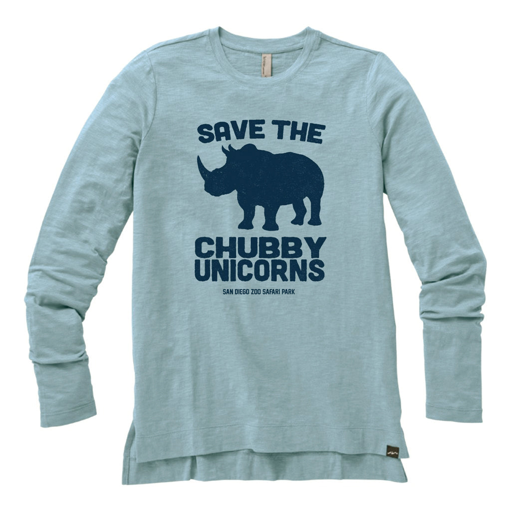 Save the Chubby Unicorns Ladies Long Sleeved Tee