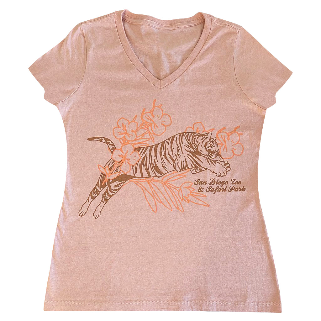 Tiger Hibiscus Ladies V-neck