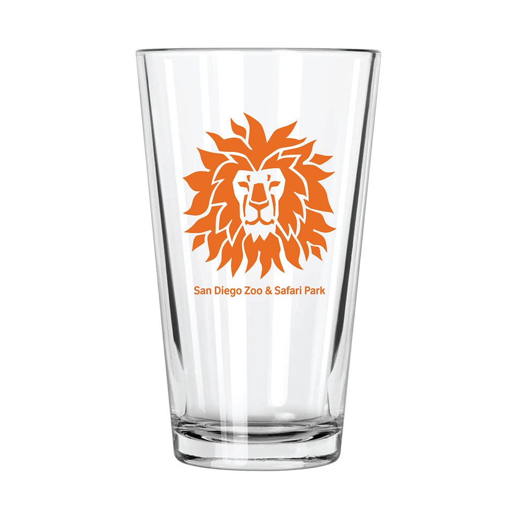 Lion Head Pint Glass-Orange