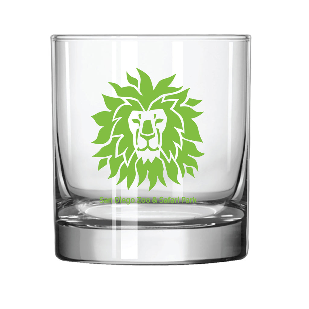 Lion Head Rocks Glass-Lime