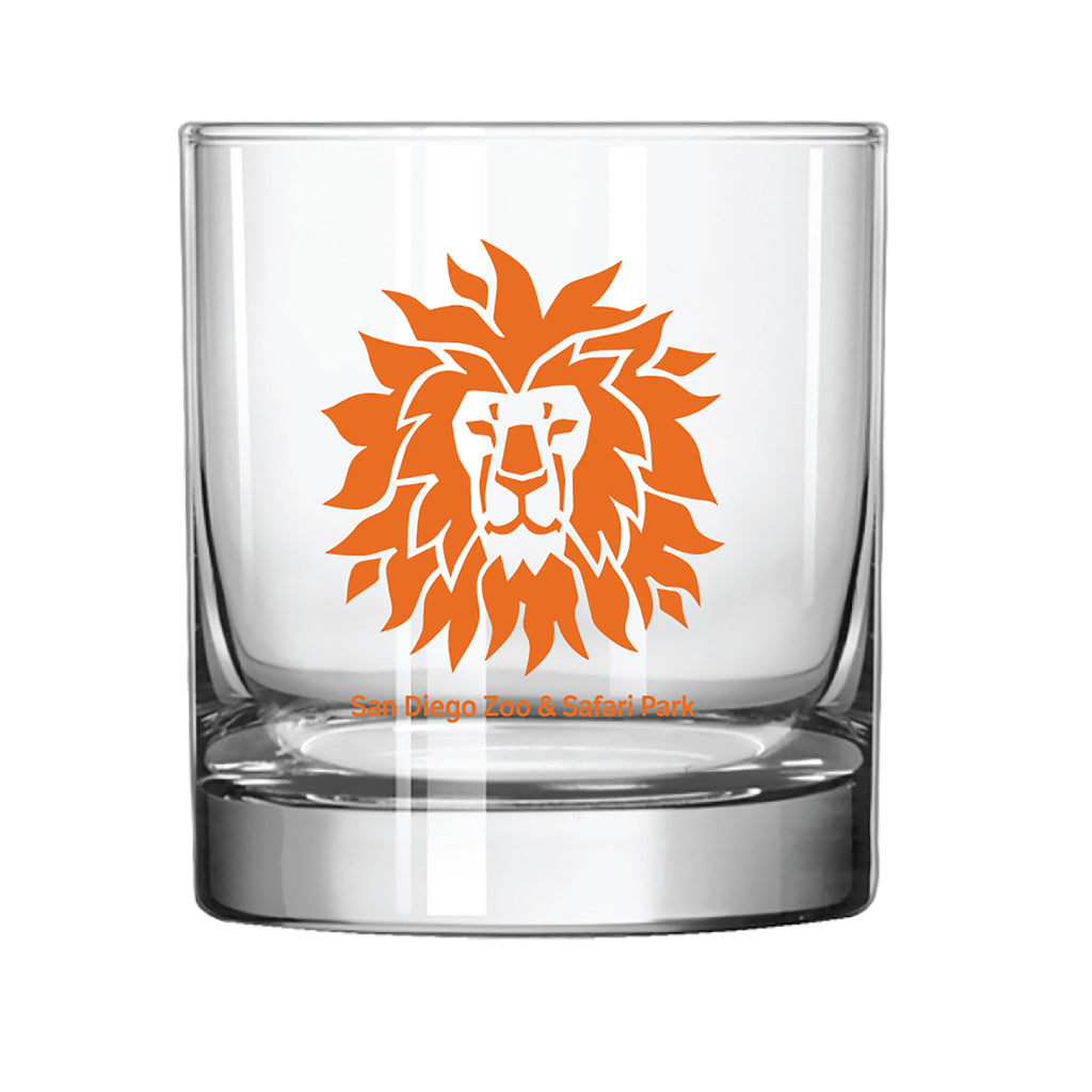 Lion Head Rocks Glass-Orange