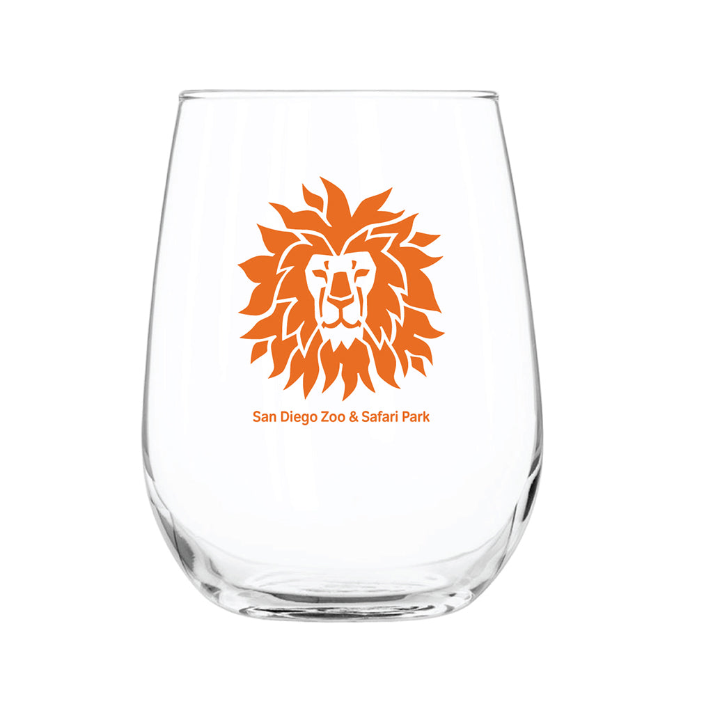 Lion Head Stemless Wine Glass-Orange