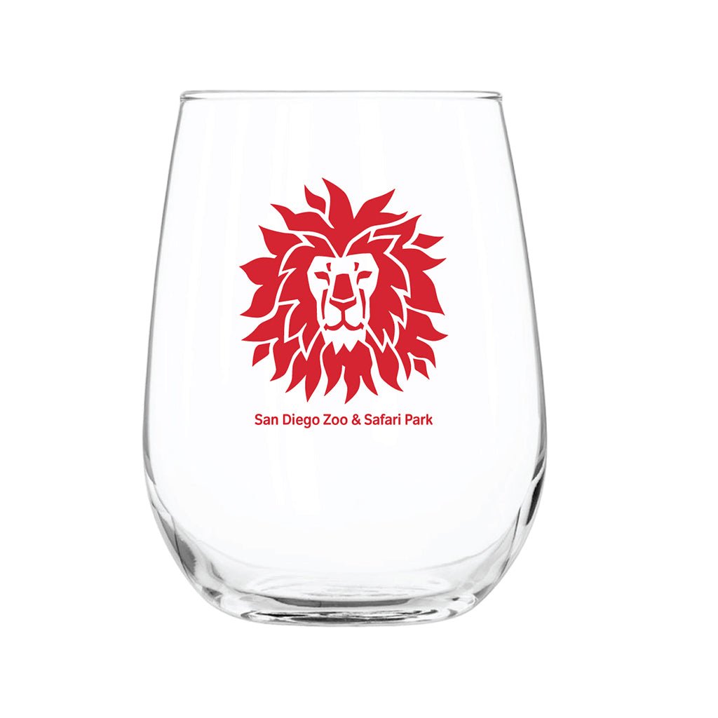 Lion Head Stemless Wine Glass-Red