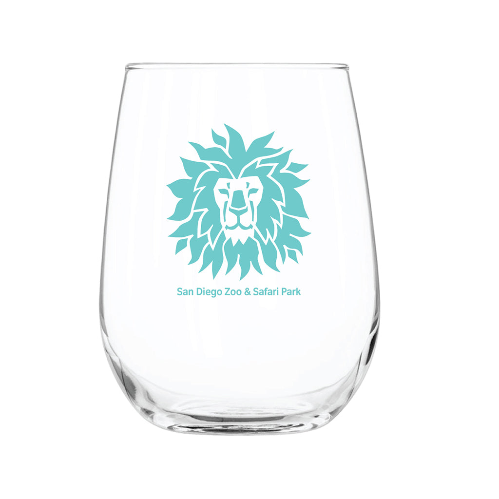 Lion Head Stemless Wine Glass-Turquoise