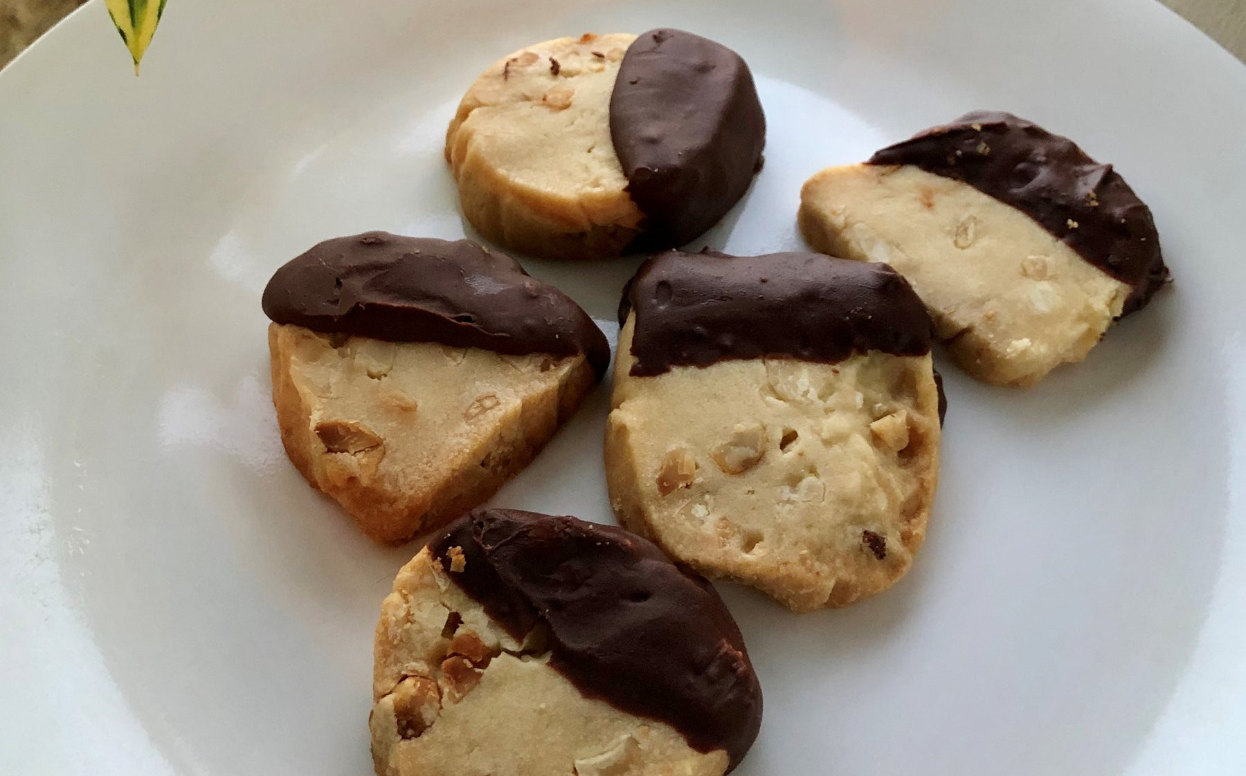 Chocolate Dipped Macadamia Nut Shortbread Cookies