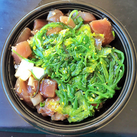 Da poke shack shoyu poke bowl with ocean salad and rice