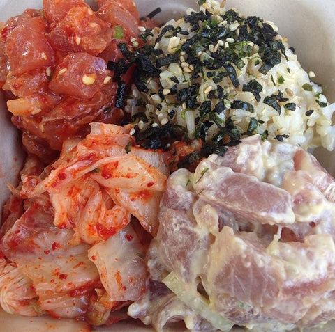 Da poke shack plate with kimchee