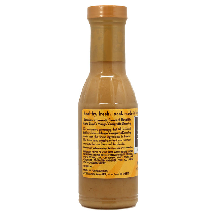 Aloha Salads Mango Vinaigrette - 12 oz back of the glass bottle