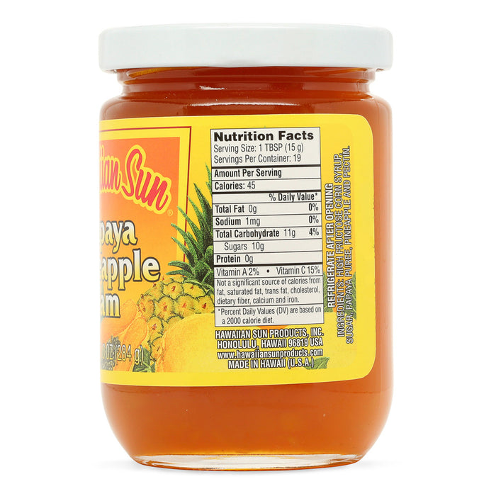 Hawaiian-sun-papaya-pineapple-jam-10-oz-jar-side