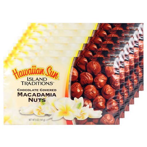 Hawaiian Sun Chocolate Covered Macadamia Nuts 6 Pack