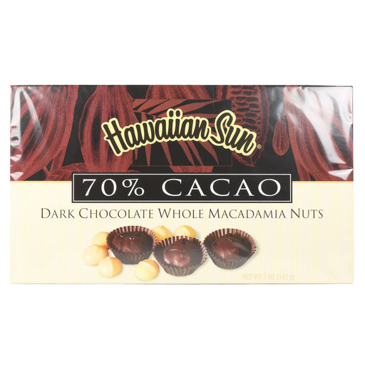 Hawaiian Sun 70% Cacao Dark Chocolate Macadamia Nuts - Asst sizes