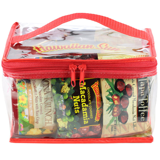 Hawaiian Sun Chocolate Macadamia Nut Variety Plastic Gift Bag with red handle and zipper