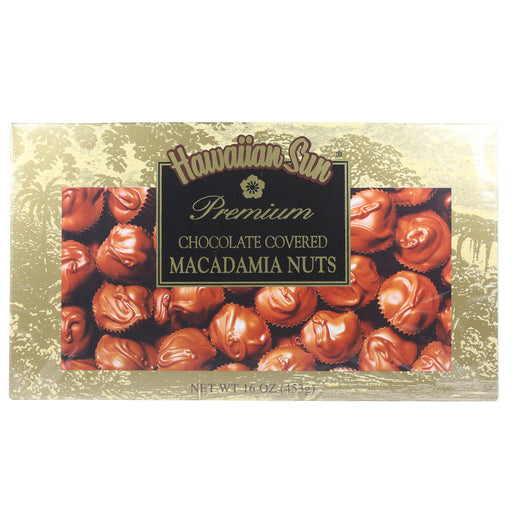 Hawaiian Sun Deluxe Chocolate Covered Whole Macadamia Nuts -  8 oz or 16 oz