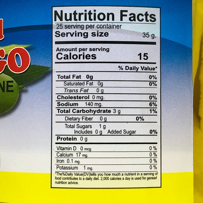 Nutrition facts pickled mango