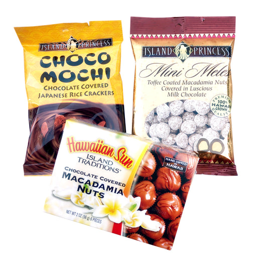 Chocolate lovers trio - choco mochi, mini mele macs and hawaiian sun chocolate covered macadamia nuts 2 oz box