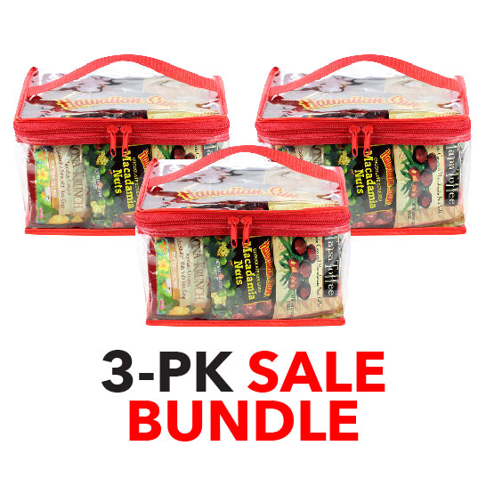3-pack SALE Bundle Hawaiian Sun Chocolate Macadamia Nut Variety Gift Bag
