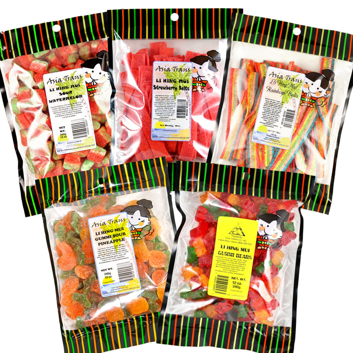 Li Hing Mui Sour Watermelon 12 oz Li Hing Mui Strawberry Belts 10 oz Li Hing Mui Rainbow Belts 10 oz Li Hing Mui Pineapple Gummy 12 oz Li Hing Mui Gummy Bears 12 oz