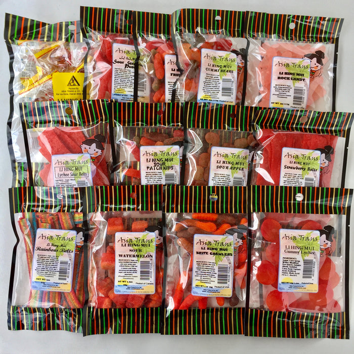 Li Hing Mui gift set candy bags spread out
