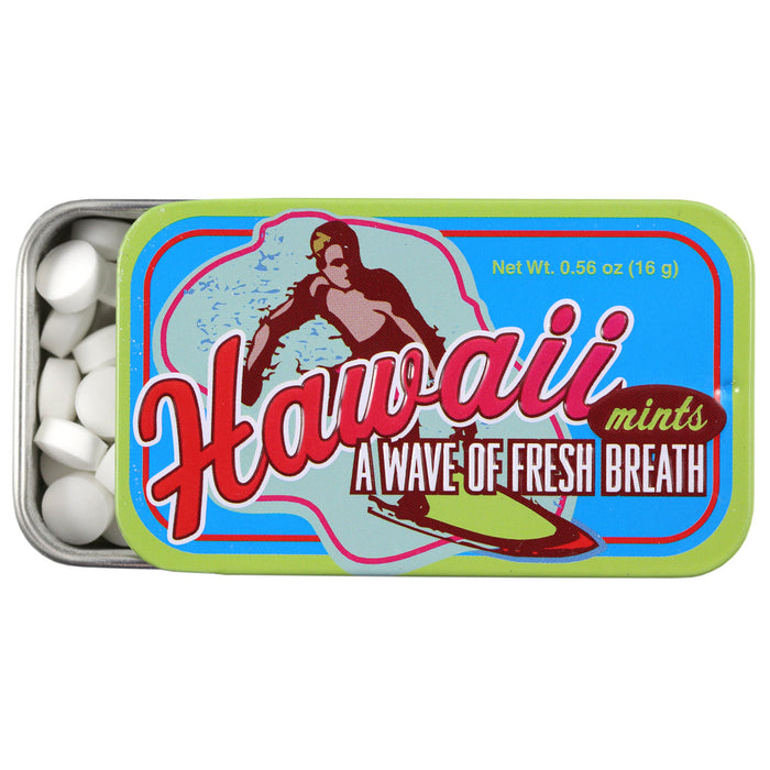 Hawaii Mints Surfer Tin opened with small white circular mints showing