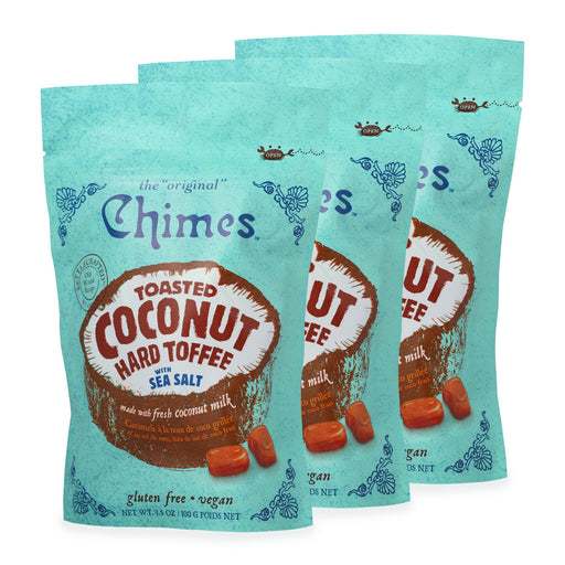 Chimes Toasted Coconut Toffee Candy with Sea Salt 3 bags of 3.5 oz bag