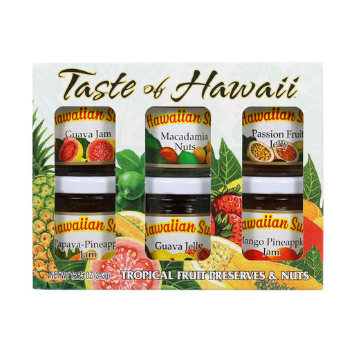 Hawaiian sun gift set with six bottles of tropical fruit preserves and nuts